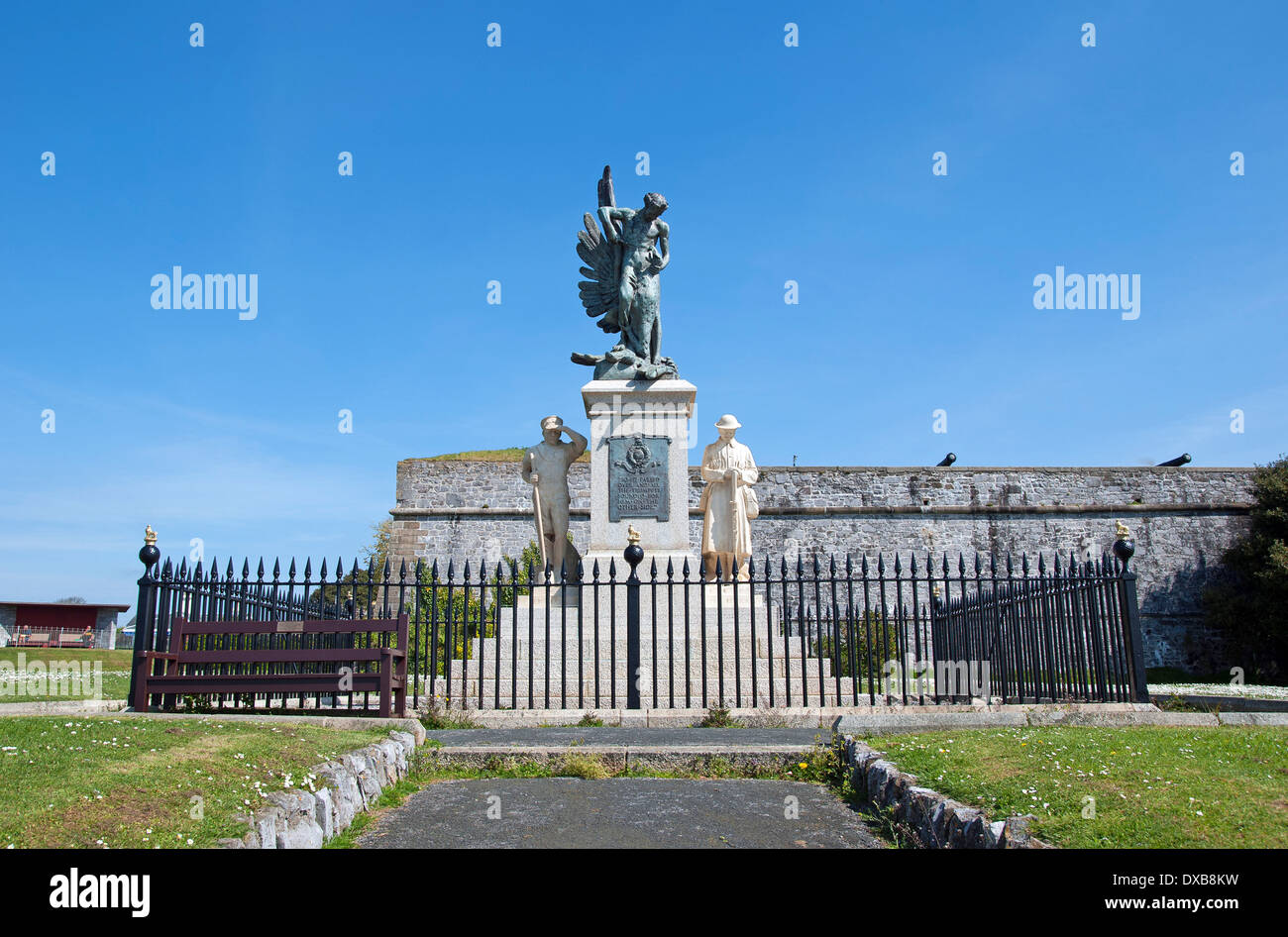 The Royal Marines memorial monument on Plymouth hoe in Devon, UK Stock Photo
