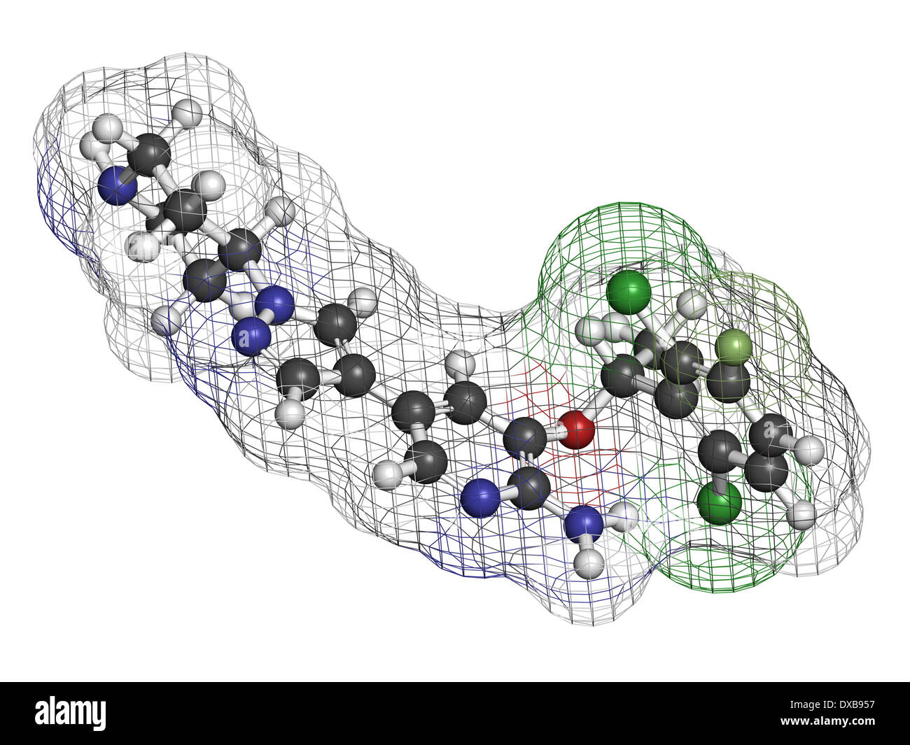 Crizotinib anti-cancer drug molecule. Inhibitor of ALK and ROS1 proteins. - Stock Image