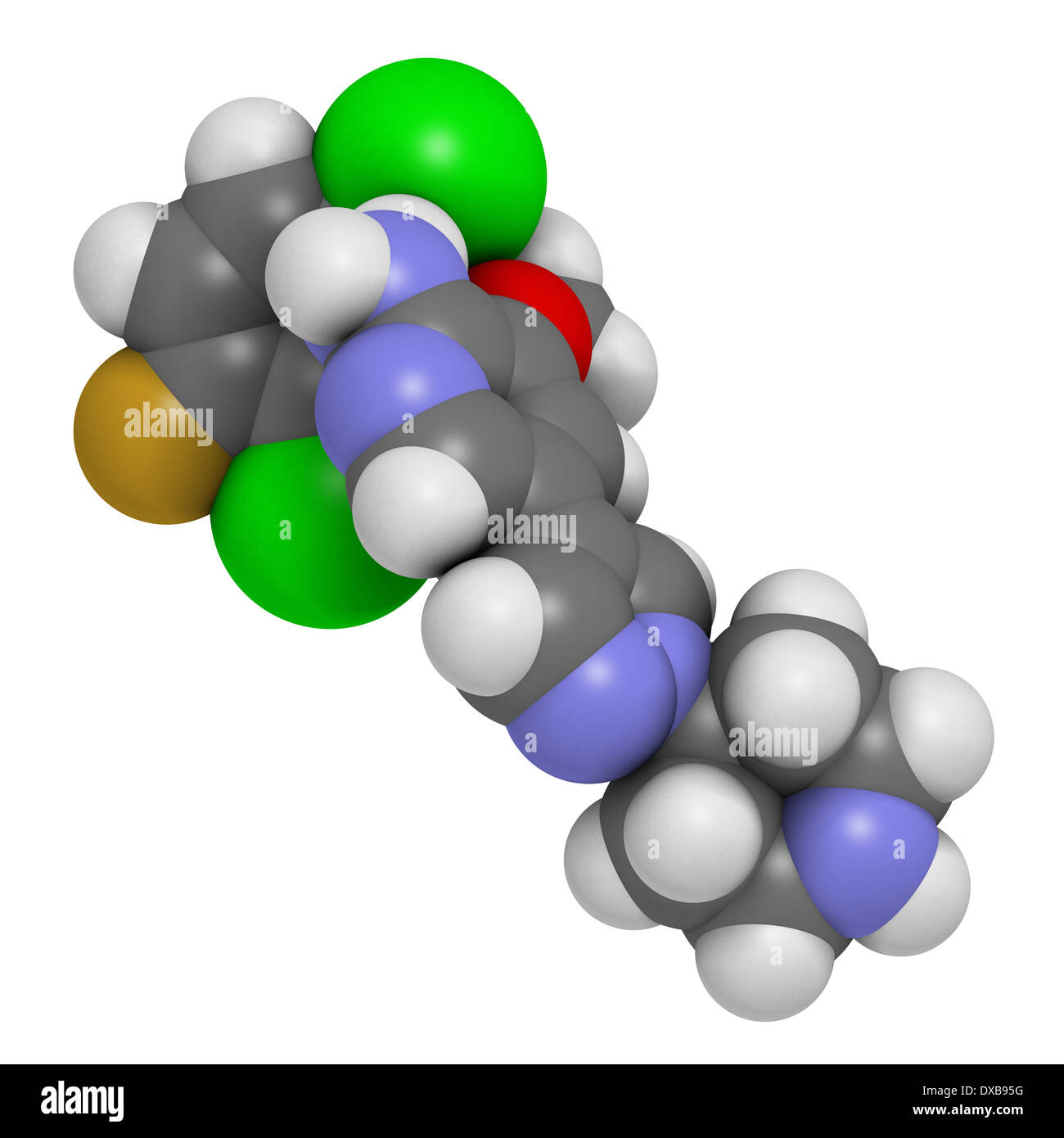 Crizotinib anti-cancer drug molecule. Inhibitor of ALK and ROS1 proteins. Stock Photo