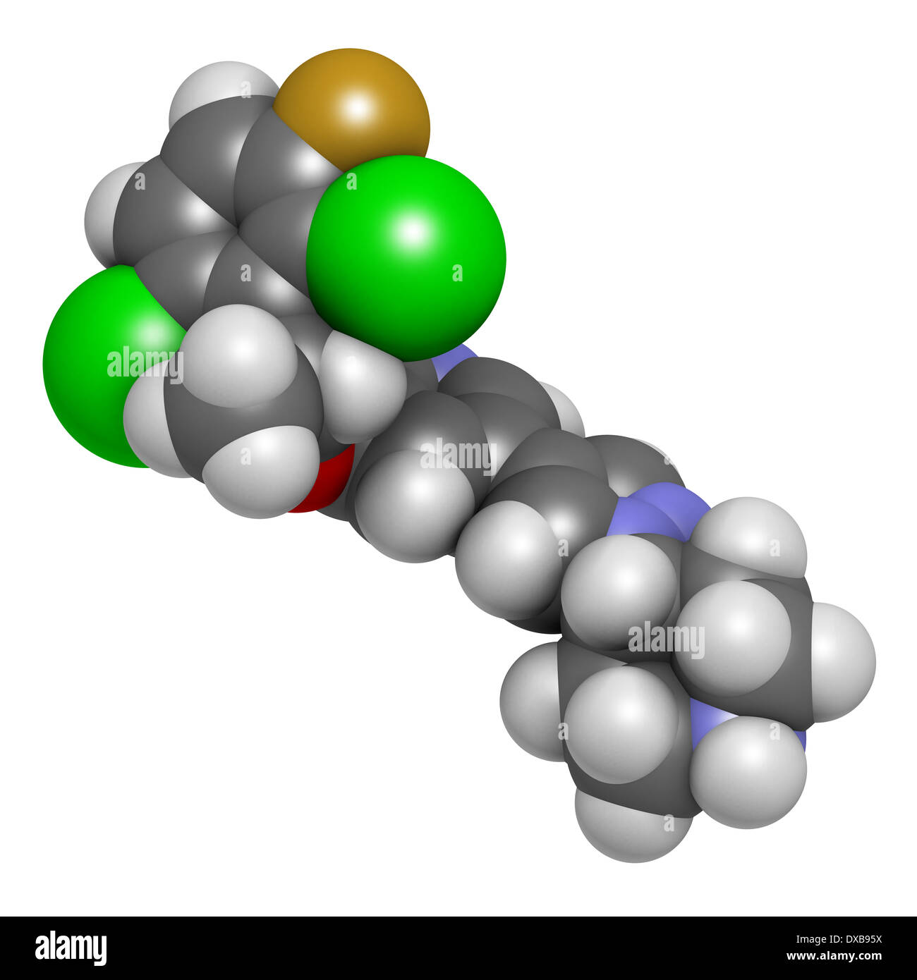 Crizotinib anti-cancer drug molecule. Inhibitor of ALK and ROS1 proteins. Stock Photo