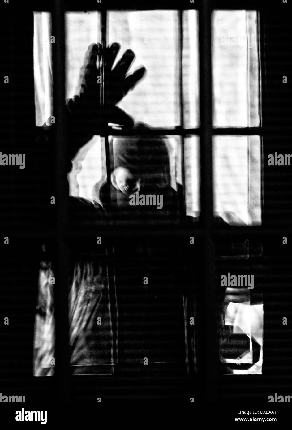Boogie Man at the Door, Home Invasion in Progress - Stock Image