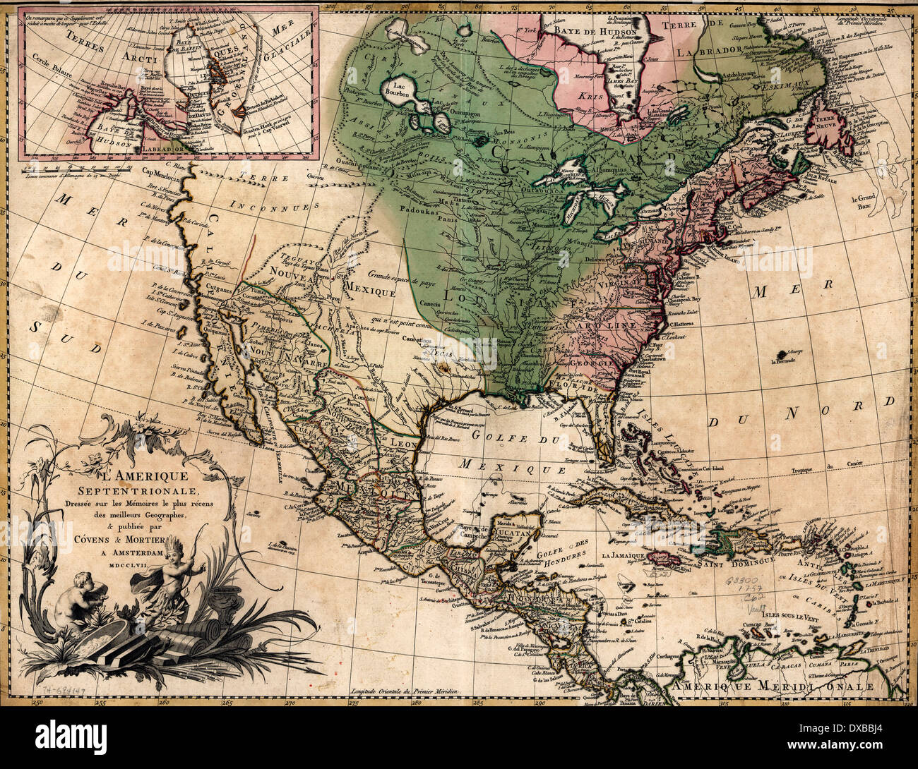L'Amérique septentrionale, 1757 North American Map 1757 - Stock Image