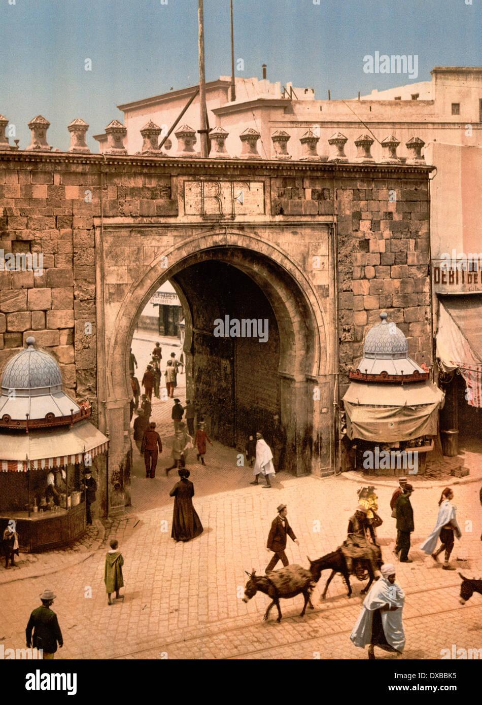 The French gate Tunis, Tunisia La porte française, circa 1899 - Stock Image