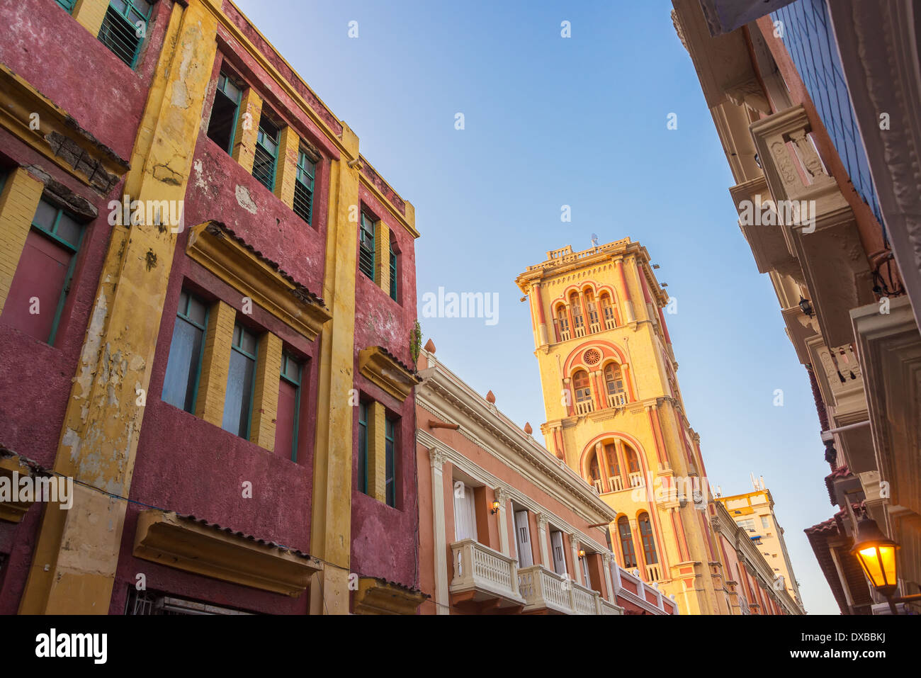 View of the tower of Cartagena Public University in the heart of the historic district of Cartagena, Colombia - Stock Image