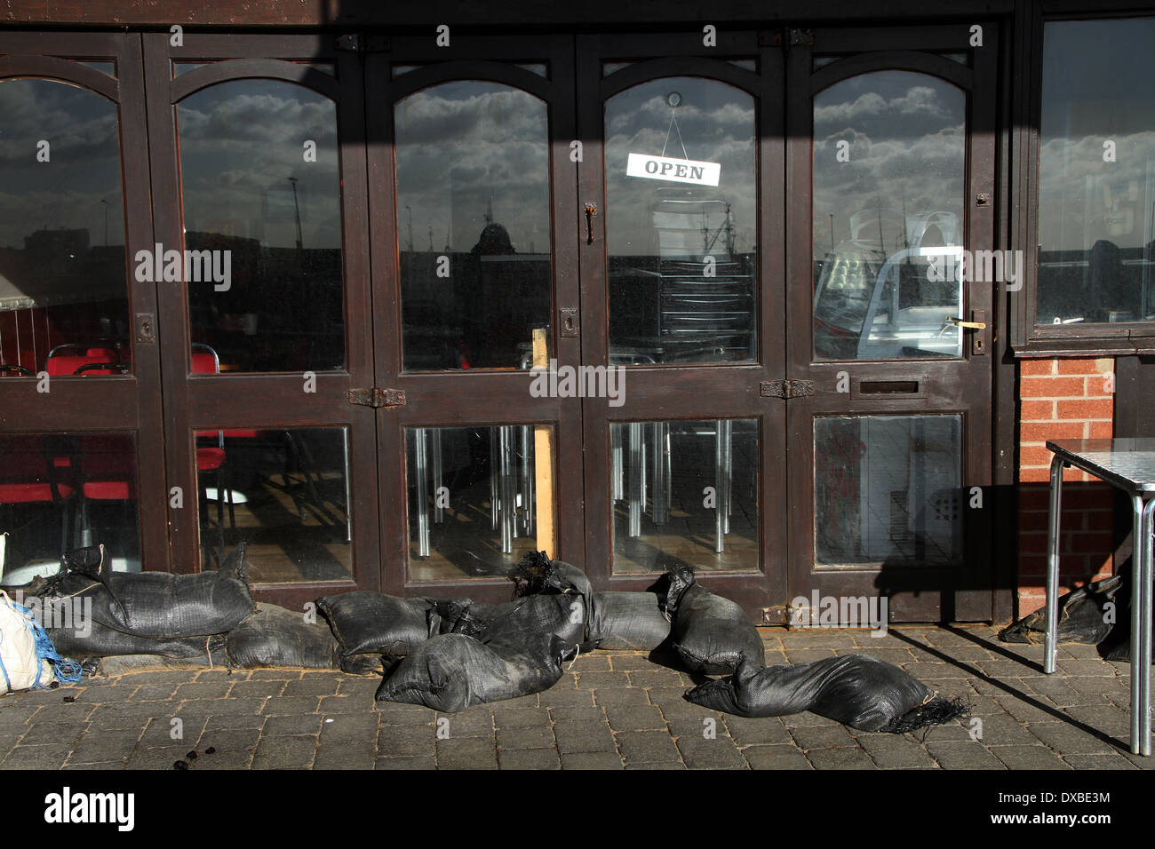 sand bags in front of flooded business stock photo 67864712 alamy