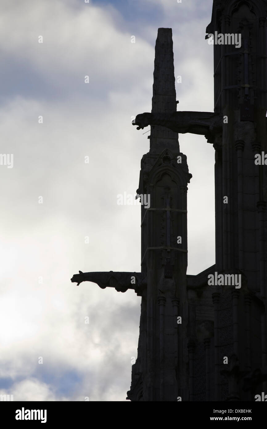 Silhouette of the Gargoyles at the Notre Dame Cathedral Paris - Stock Image