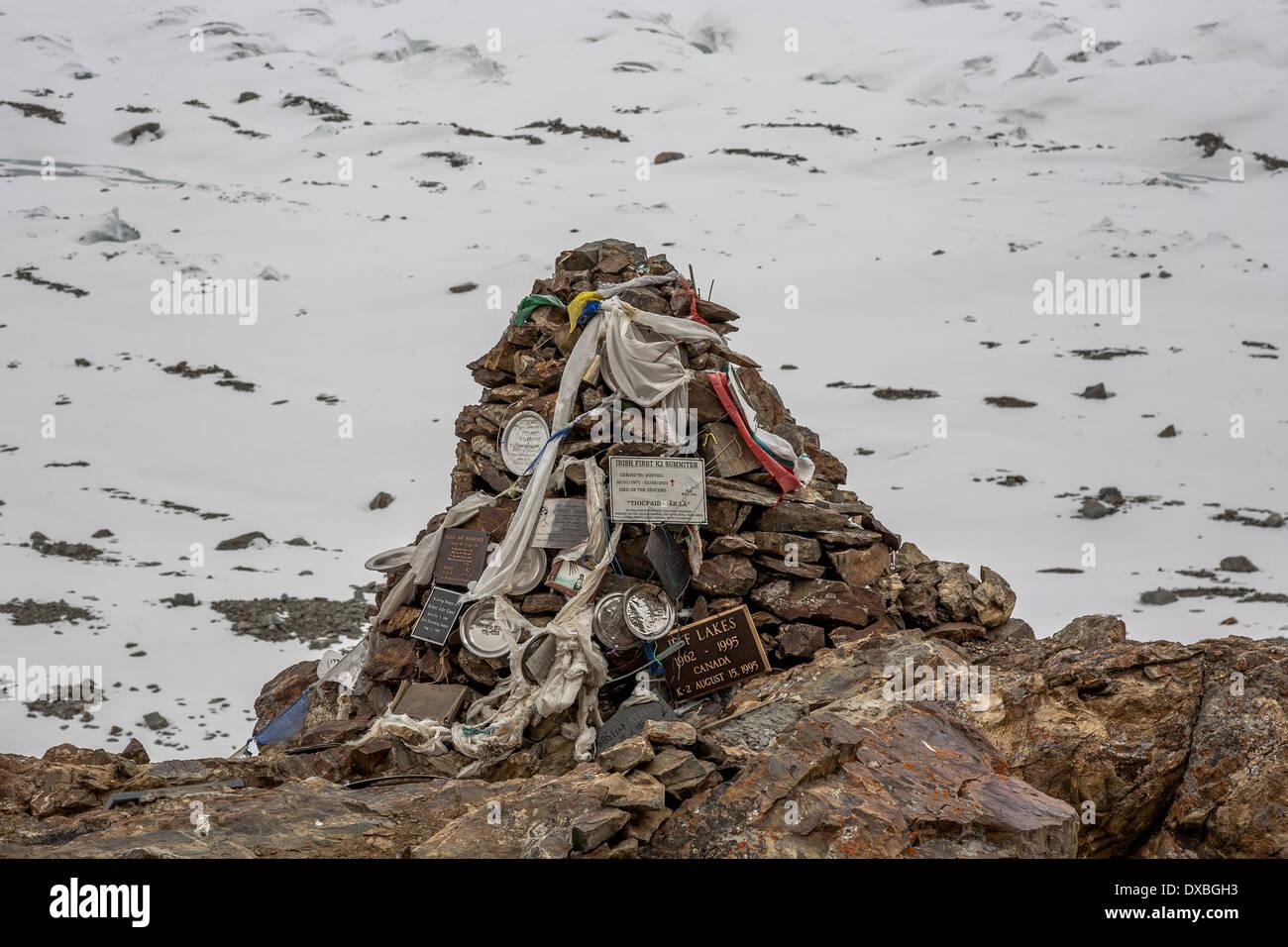 K2 Memorial near K2 Basecamp - Stock Image