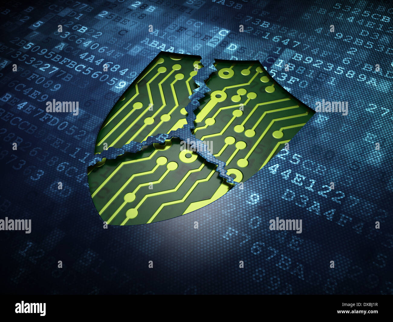 security concept broken shield on digital screen background stock