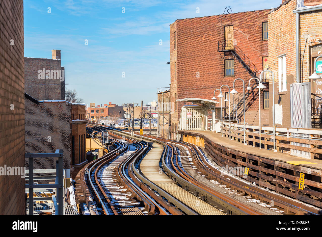 Tracks for the elevated train mass transit system in Chicago - Stock Image