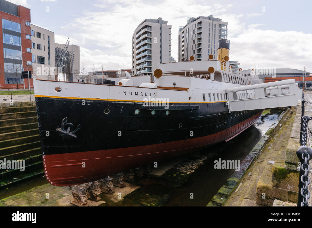 Nomadic, the only surviving White Star Line ship, built to ferry passengers to and from the Titanic - Stock Image