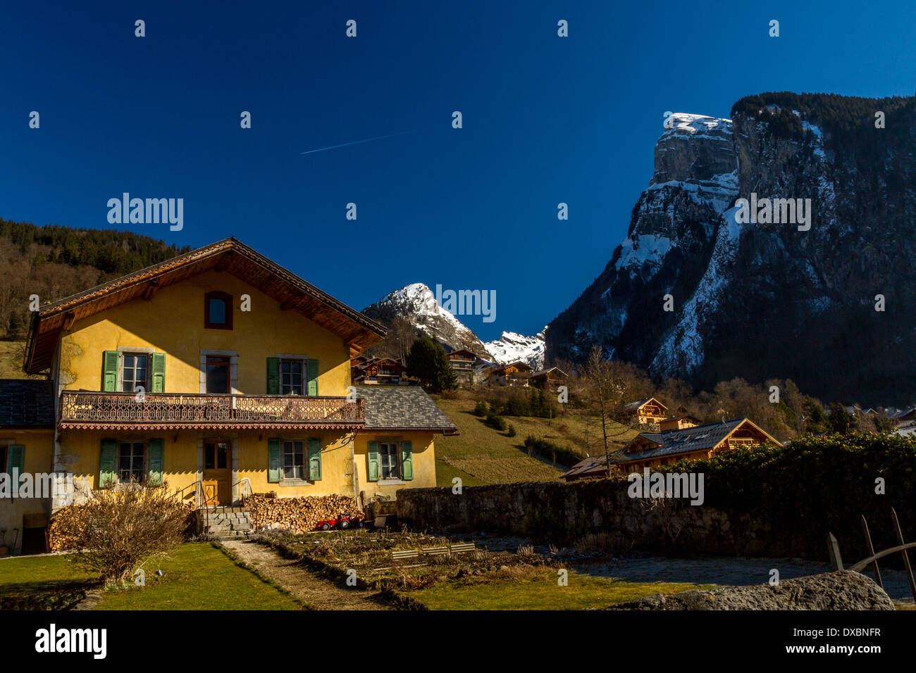 Typical French chalet Rhône-Alpes, France - Stock Image