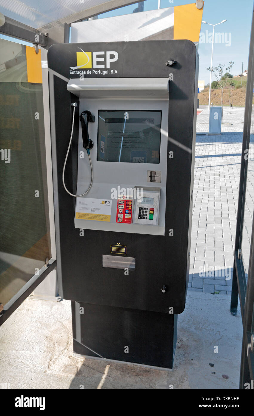 An information and credit card payment machine at an  Electronic Toll point on the A22 motorway in southern Portugal (Algave). - Stock Image