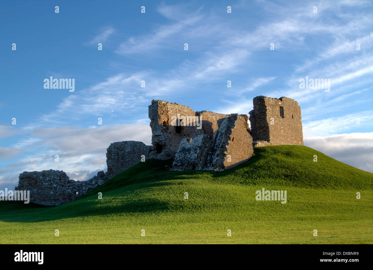 The remains of Dufus Castle, Scotland.  One of the finest examples of a motte and bailey castle in Scotland. Stock Photo