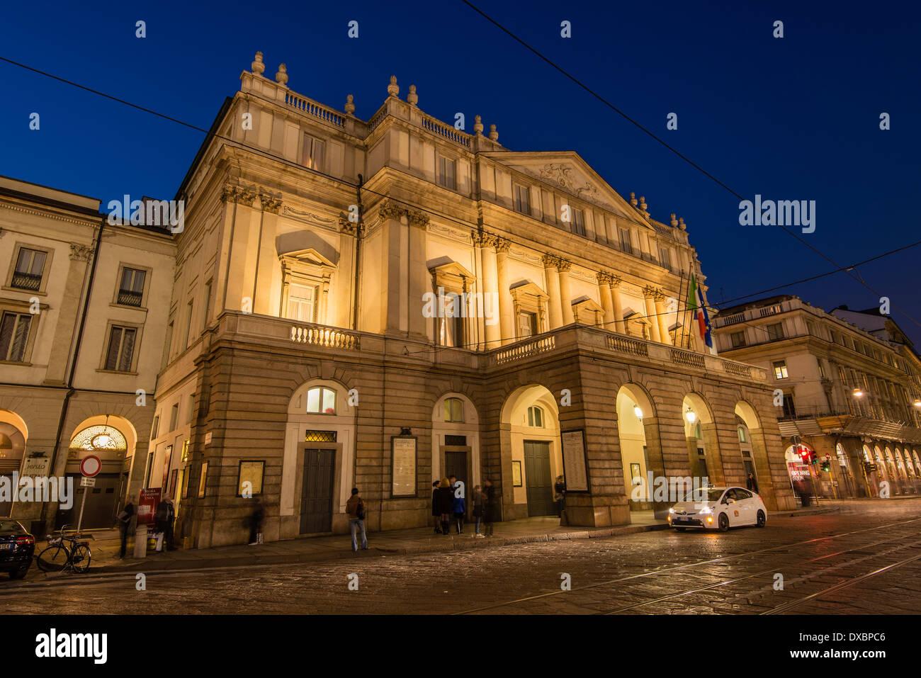 Night view of La Scala opera theatre, Milan, Lombardy, Italy - Stock Image