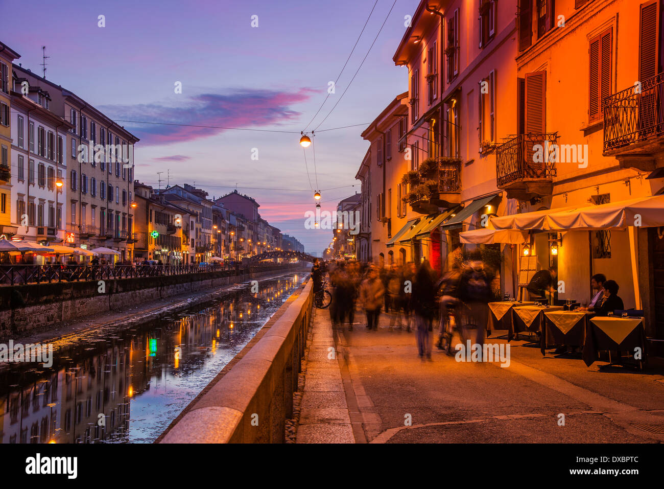 Night view of Naviglio Grande canal, Milan, Lombardy, Italy - Stock Image
