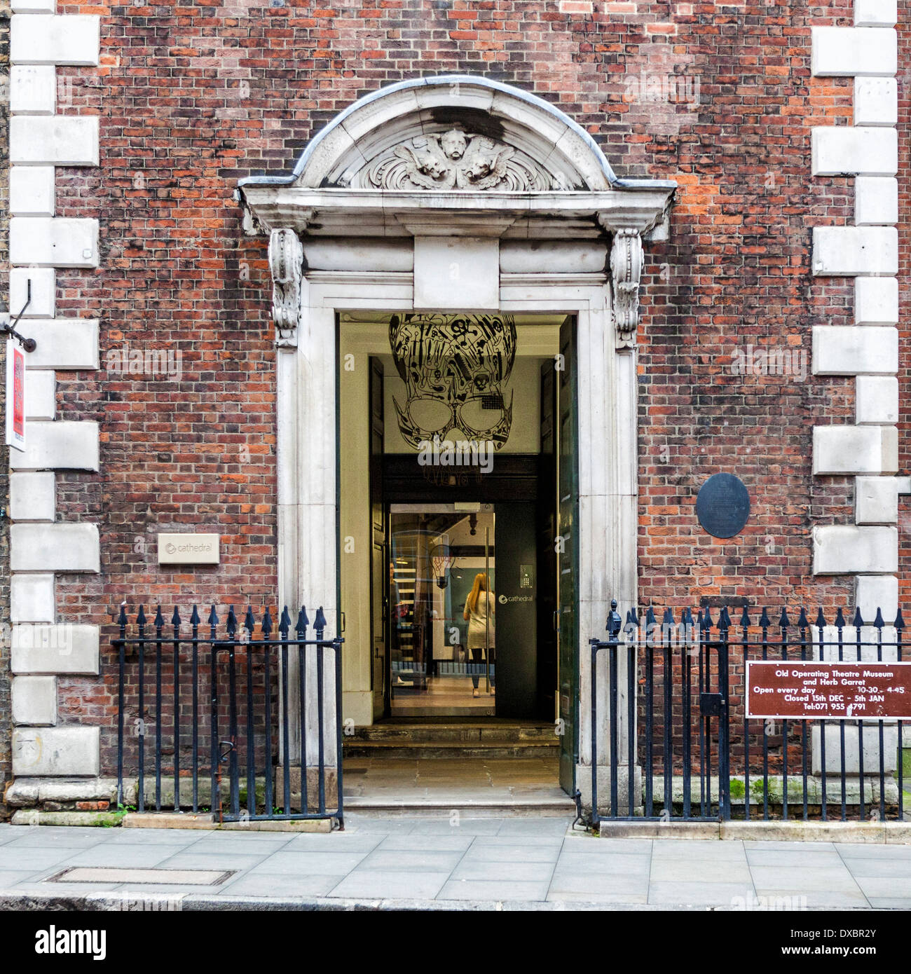 Entance to Old Operating Theatre museum and Herb Garret located in Old St Thomas's church - St Thomas Street, London, UK - Stock Image