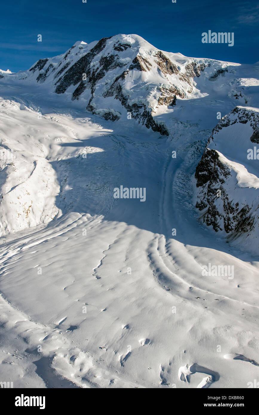 Top view over Monte Rosa and Gorner glacier, Zermatt, Wallis or Valais, Switzerland - Stock Image
