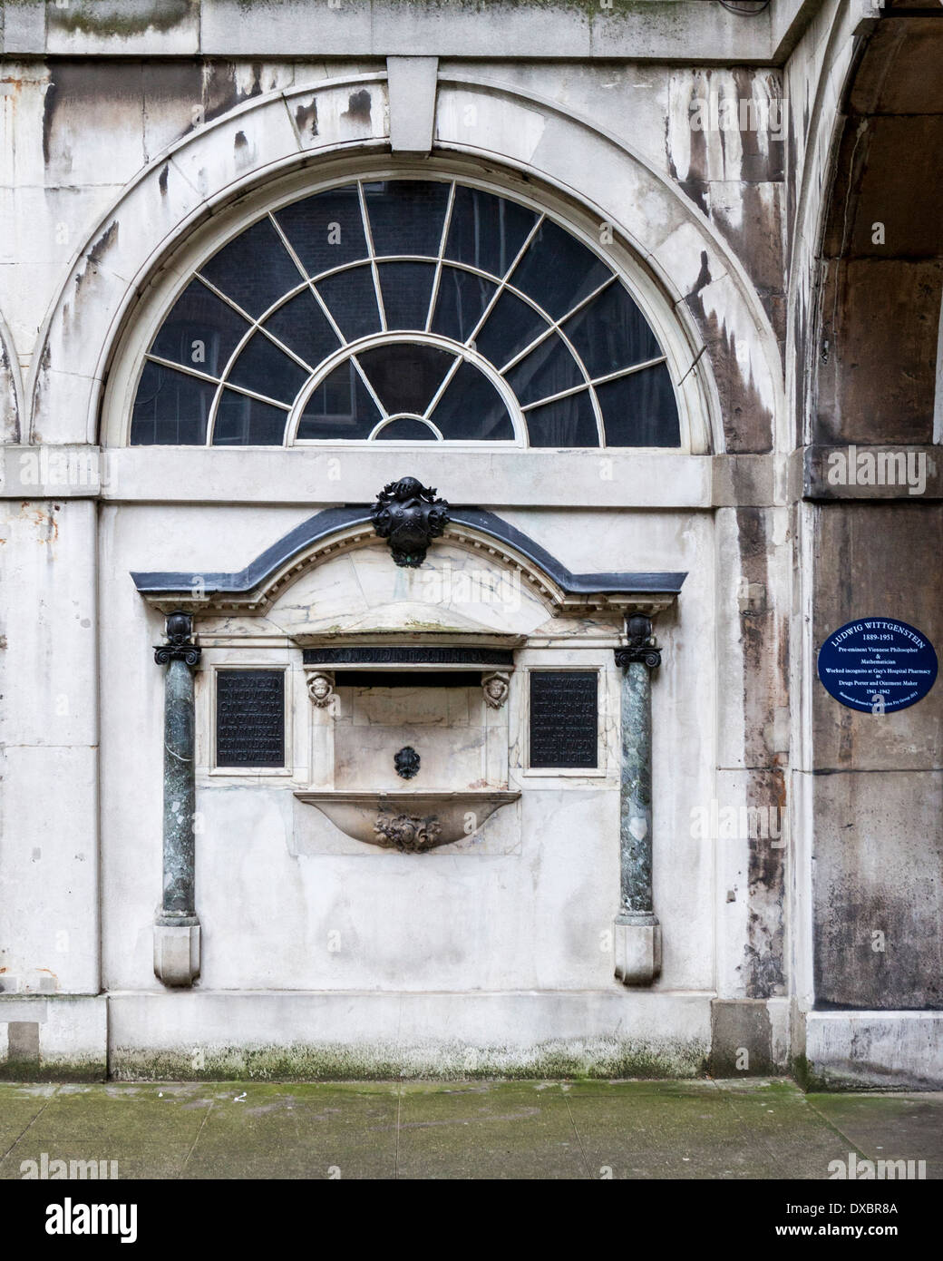 Wall of Old Guy's House with decorative drinking fountain and Ludwig Wittgenstein blue plaque - Guy's campus, KCL, Stock Photo