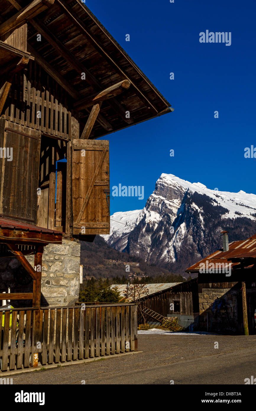 Typical French wooden chalet Rhône-Alpes, France - Stock Image