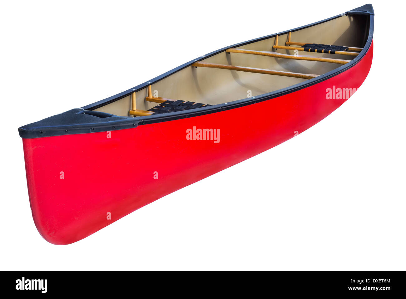 red tandem canoe with wooden seats and yoke, isolated on white with a clipping path - Stock Image