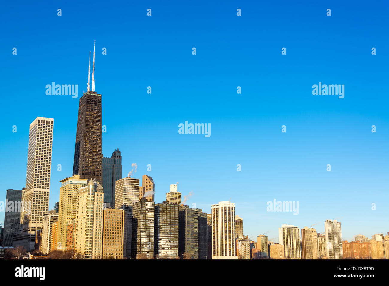 View of Chicago skyscrapers with a beautiful deep blue sky Stock Photo