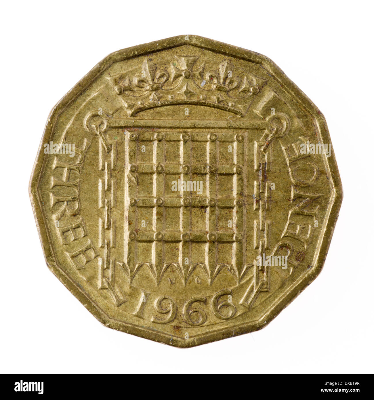 Old British three pence coin - Stock Image