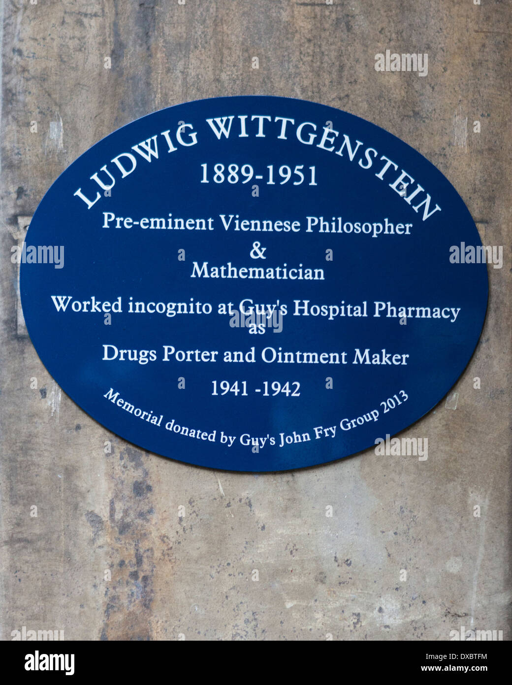 Ludwig Wittgenstein Blue Plaque Guy's Campus KCL King's College London, UK - Stock Image