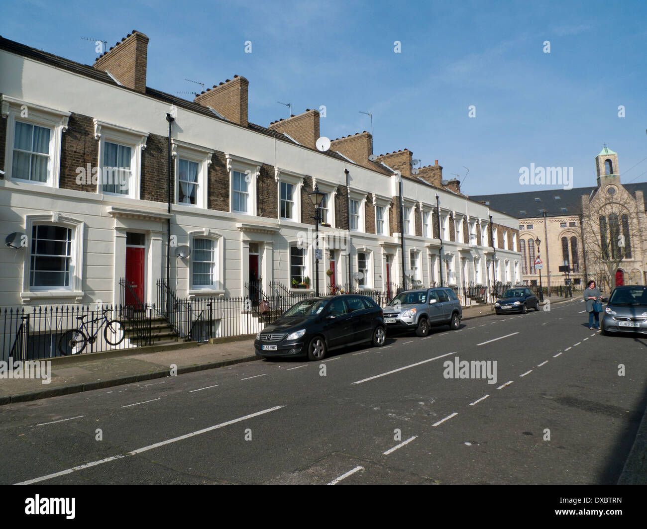 A view of a row of terraced houses in Cephas Avenue BETHNAL GREEN Tower Hamlets East London E1   KATHY DEWITT - Stock Image