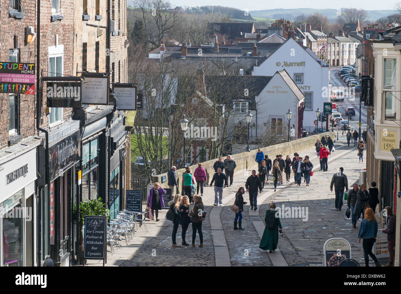 People Walking Across Elvet Bridge Durham City Centre North East
