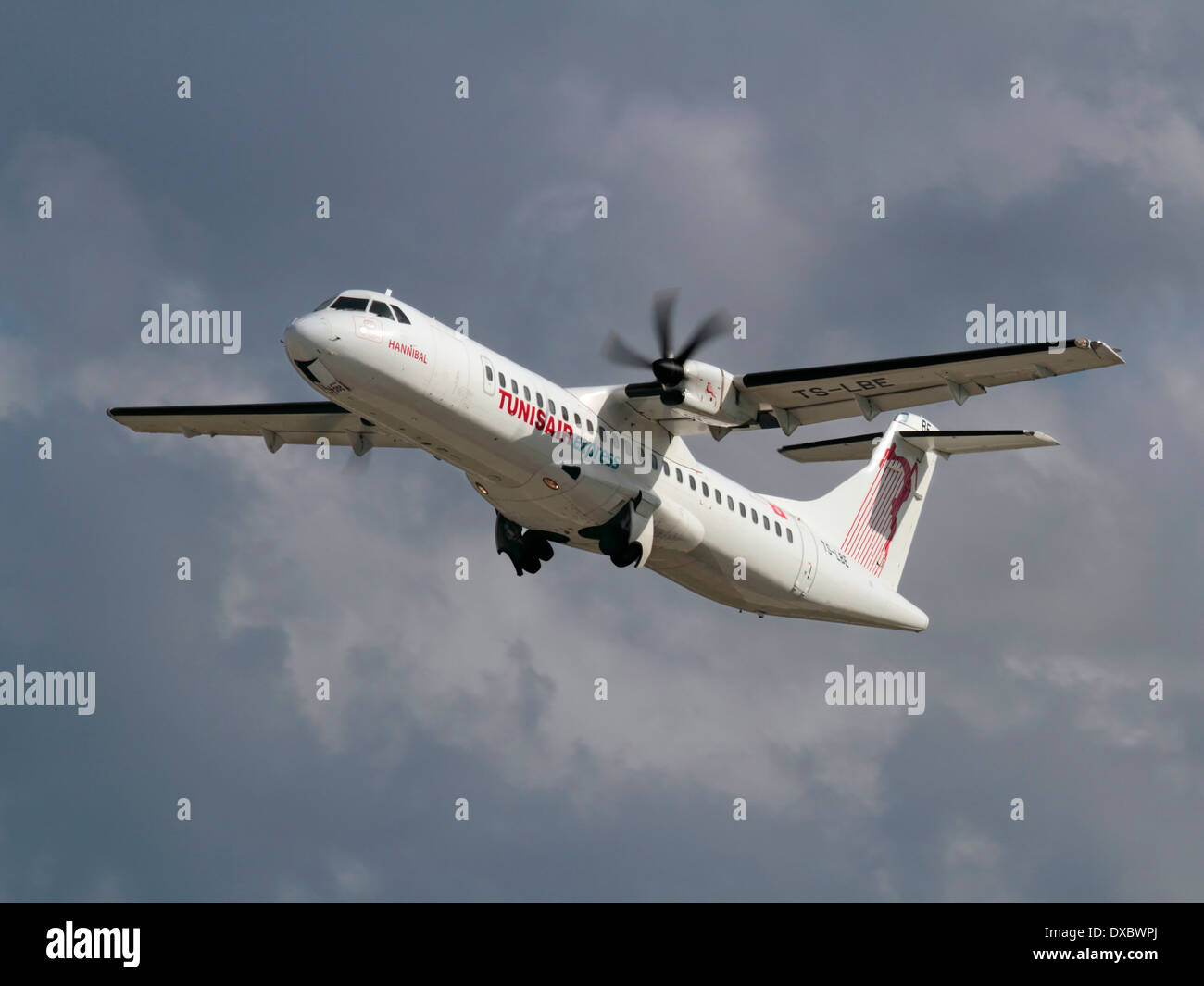 Short haul air travel. Tunisair Express ATR 72-500 turboprop regional airliner taking off - Stock Image