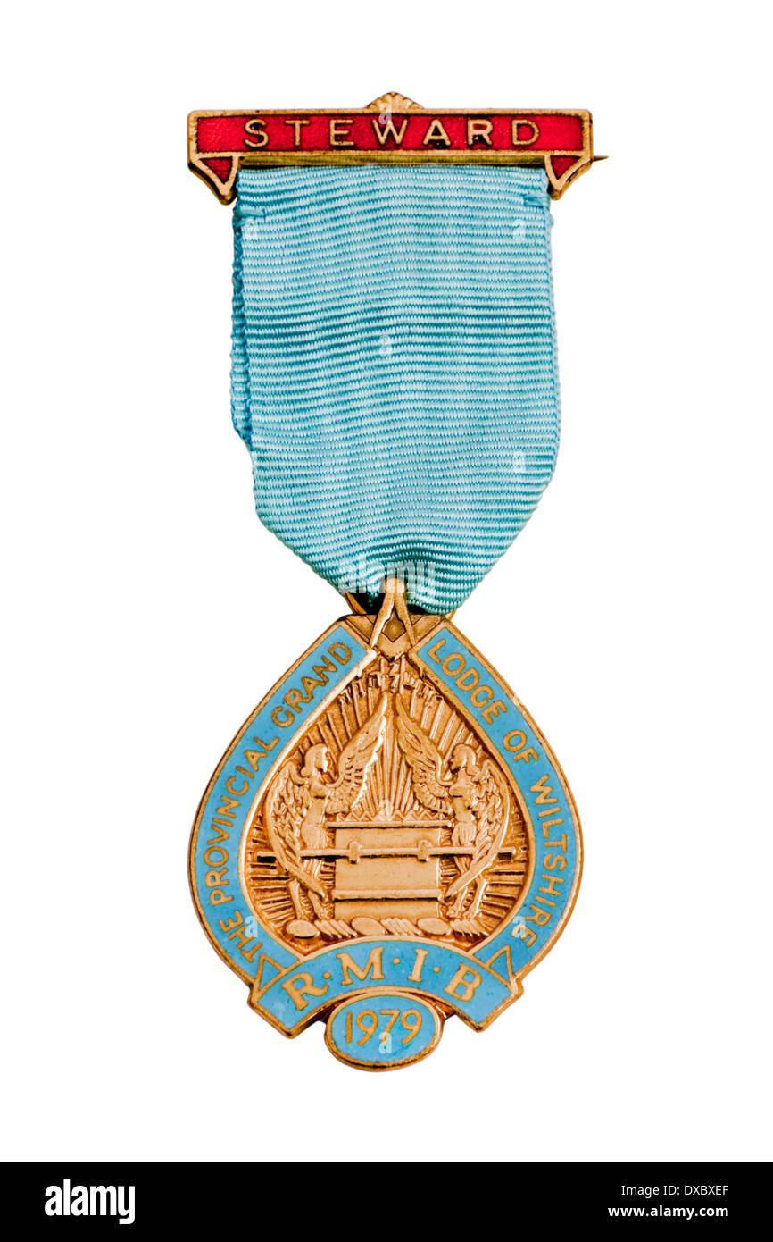 Vintage 1979 RMIB (Royal Masonic Institution for Boys) Steward's Jewel - Stock Image