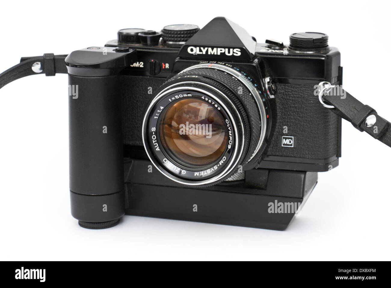 Vintage late 1970's Olympus OM-2 professional 35mm SLR film camera with Olympus G.Zuiko 50mm f/1.4 prime lens Stock Photo