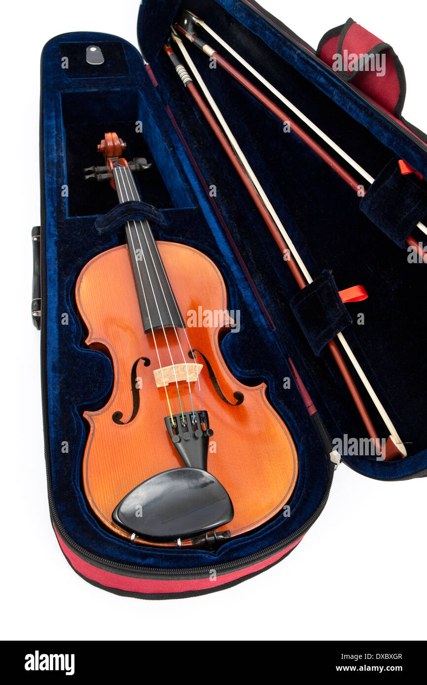 Stentor violin in protective case, complete with two bows - Stock Image