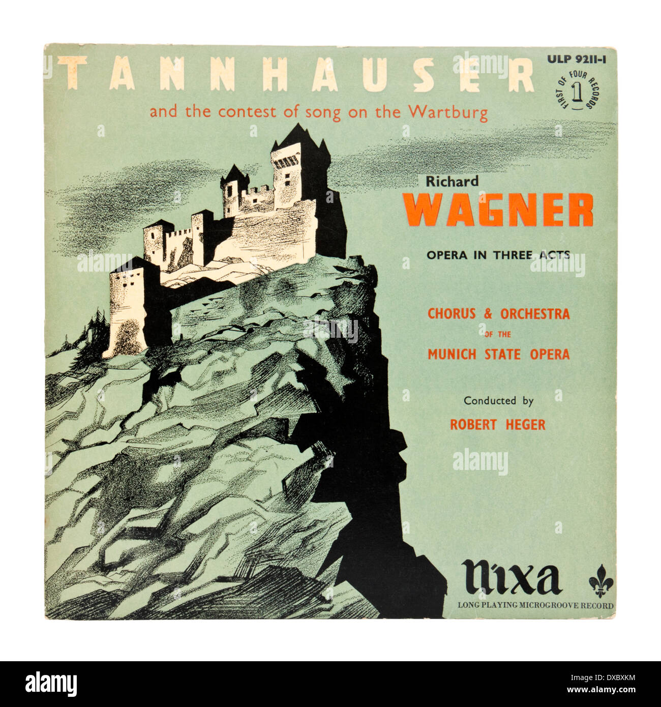 Classical vinyl record / LP - 'Tannhauser', Opera in Three Acts by Richard Wagner. Cover shows the Wartburg Castle in Germany. - Stock Image