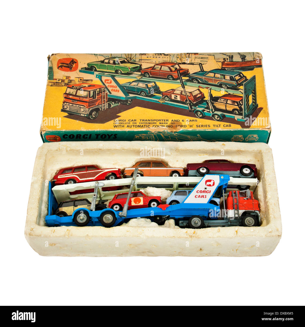 Rare vintage Corgy Toys No 41 Gift Set from 1967, containing Carrimore Mark IV car transporter - Stock Image