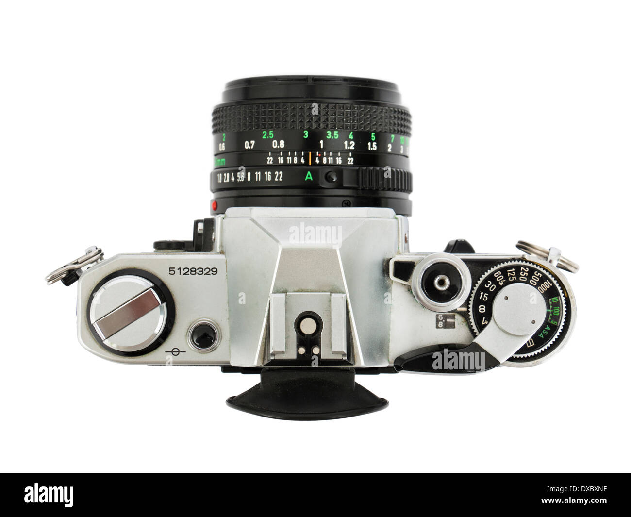 1970's Canon AE-1 vintage 35mm SLR film camera with FD 50mm f/1.8 manual focus lens - Stock Image