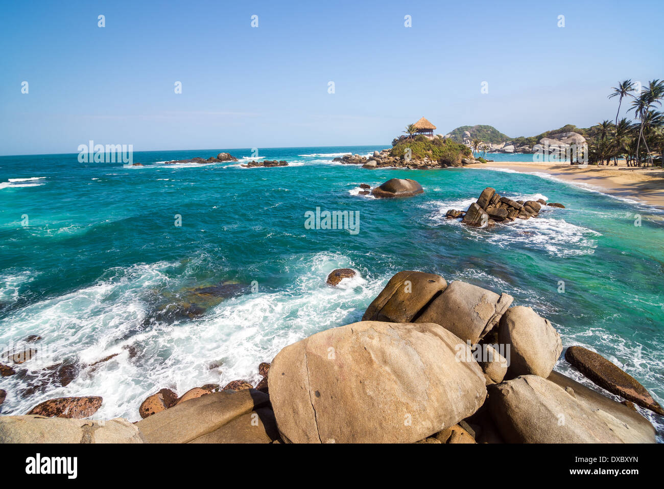 Beach and turquoise water at Cabo San Juan del Guia in Tayrona National Park in Colombia - Stock Image