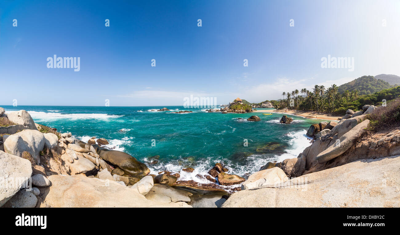 Panoramic view of Cabo San Juan del Guia in Tayrona National Park in Colombia - Stock Image