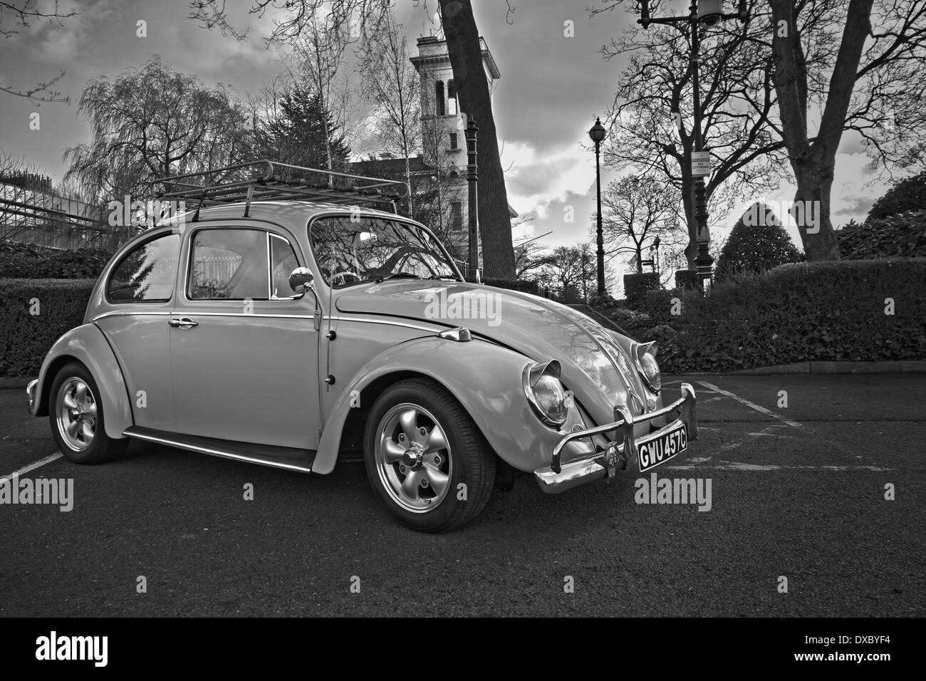 1965 Volkswagen Beetle HDR Mono - Stock Image