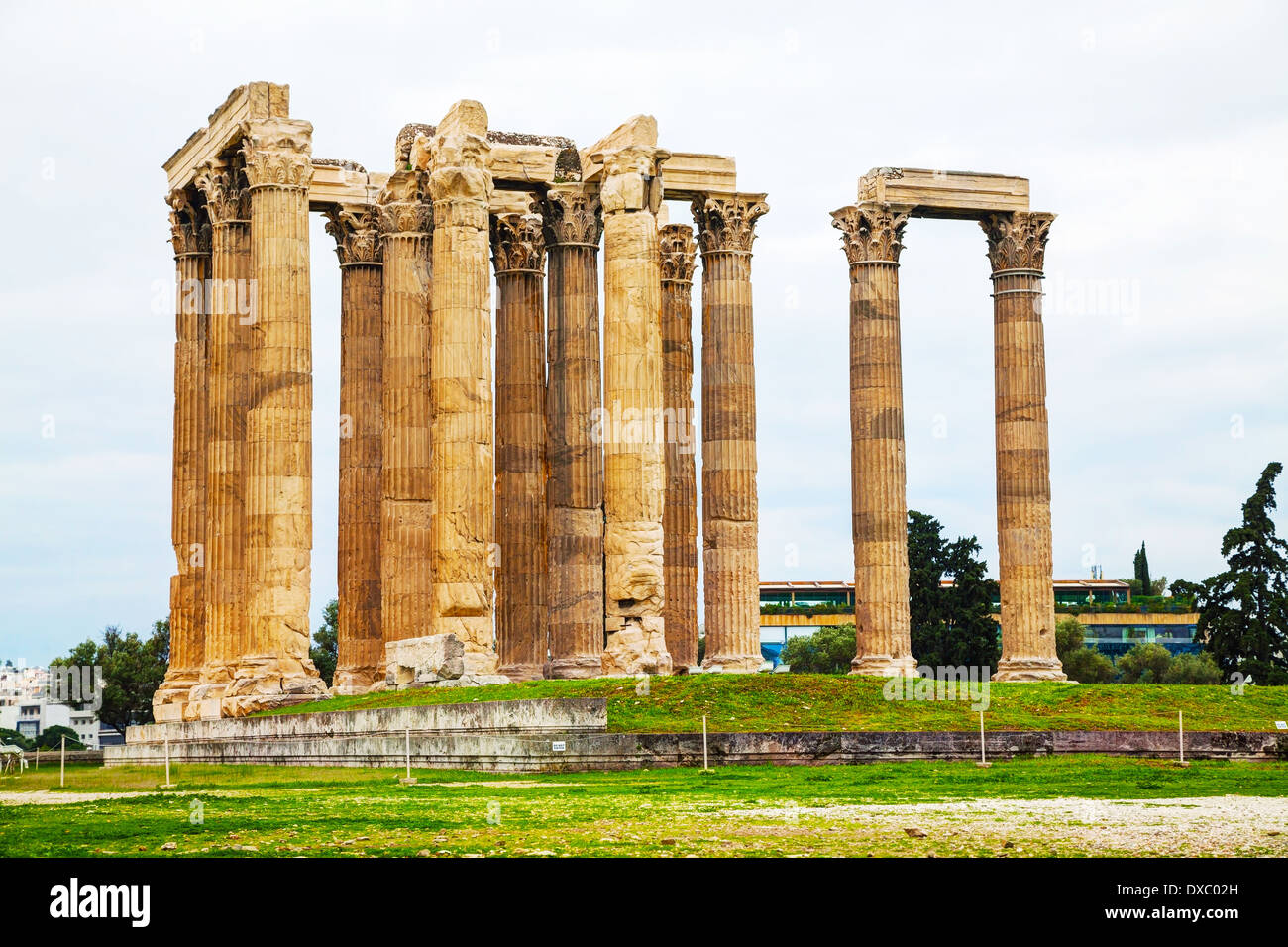 Temple of Olympian Zeus in Athens, Greece on an overcast day - Stock Image