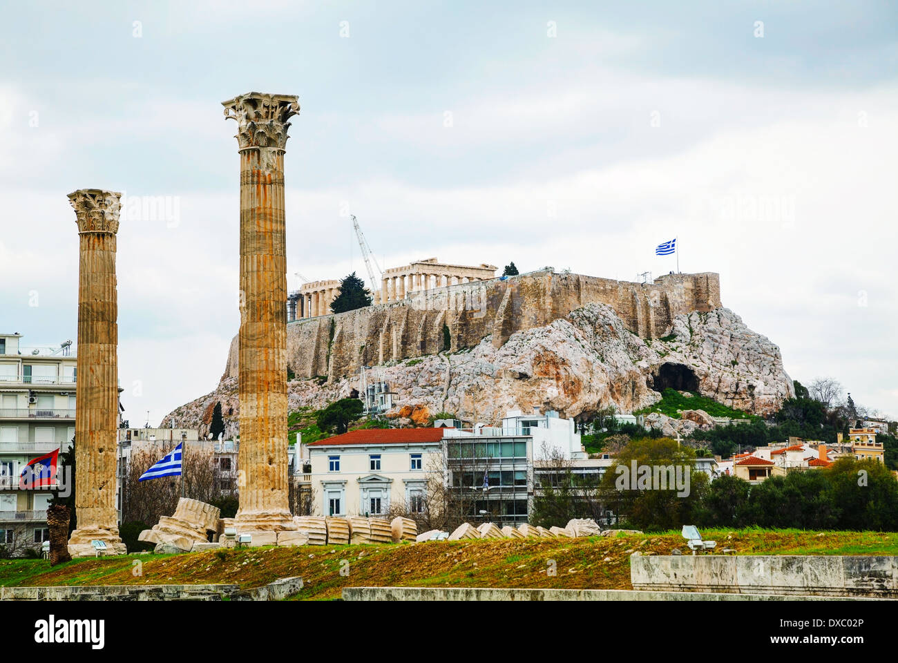 Temple of Olympian Zeus in Athens on an overcast day - Stock Image