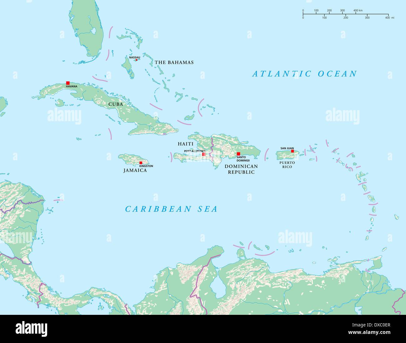Caribbean Islands Map Stock Photos & Caribbean Islands Map Stock ...