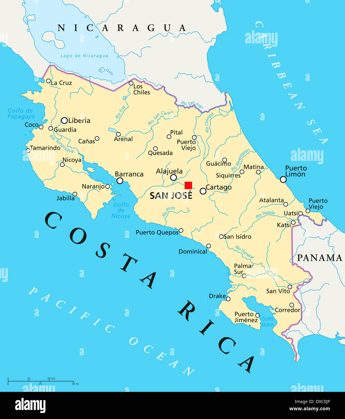 Map Of Costa Rica Stock Photos & Map Of Costa Rica Stock Images - Alamy
