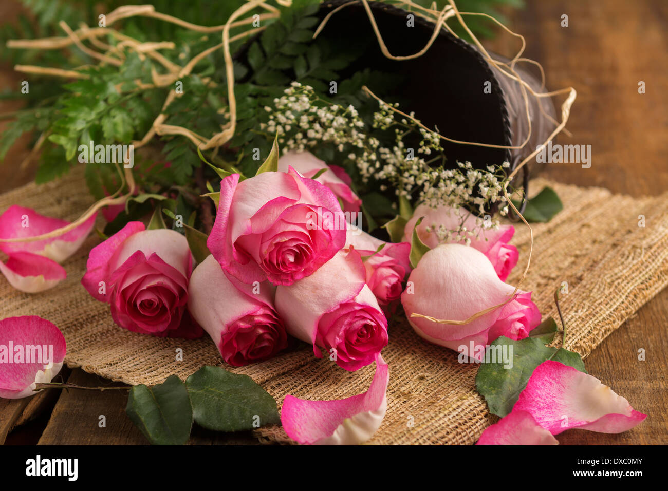 Pink roses on burlap and metal bucket ready to arrange - Stock Image