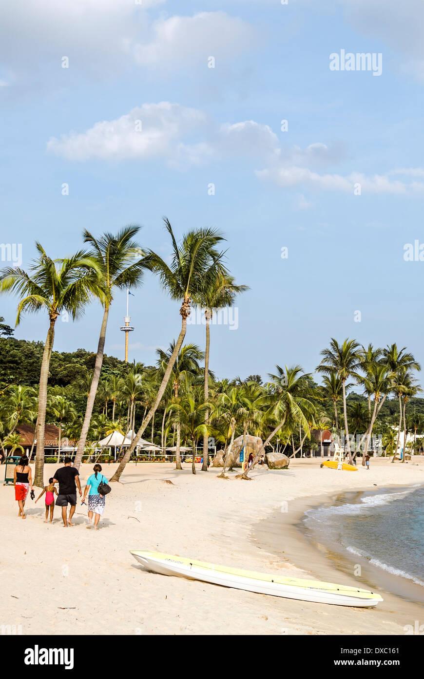Picturesque Siloso Beach on Sentosa Island, Singapore - Stock Image