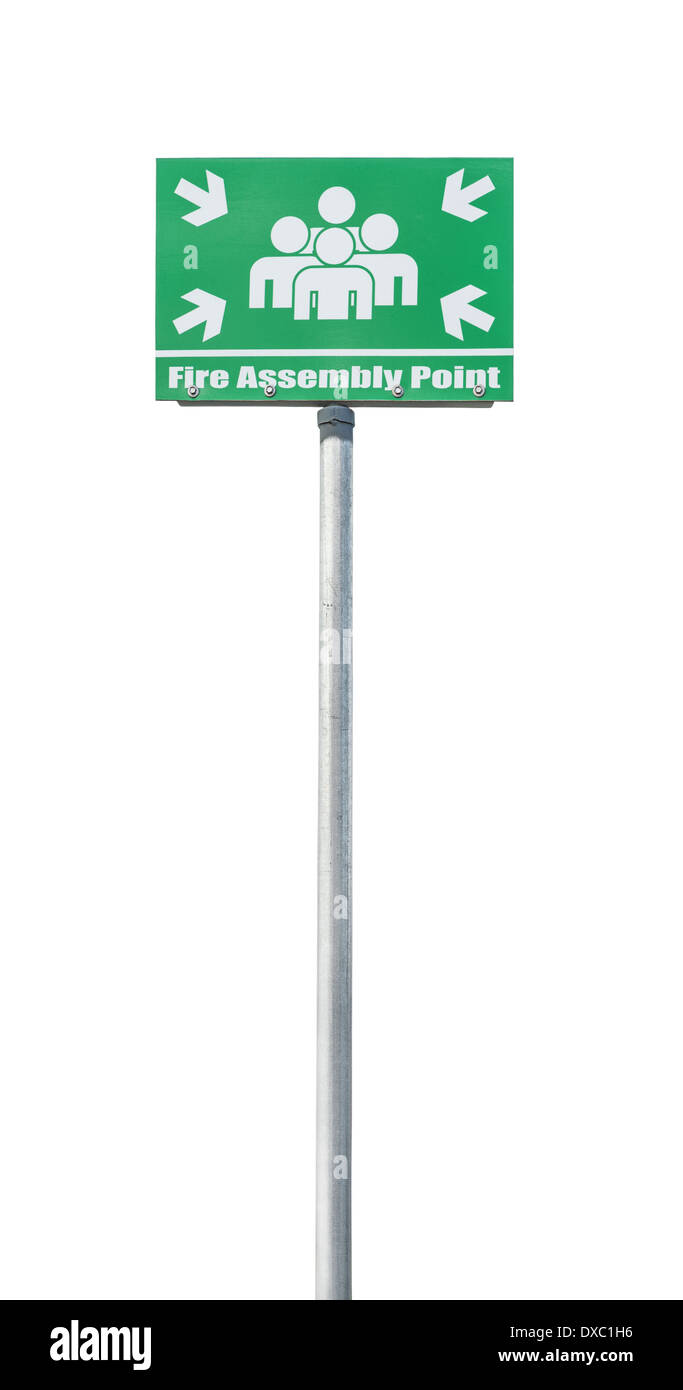 Fire assembly point sign isolated on a white background - Stock Image