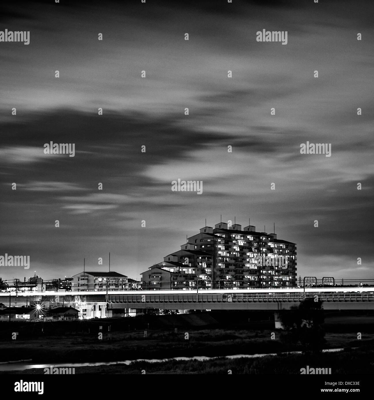 Night At Tama River, Kanagawa Prefecture, Japan - Stock Image