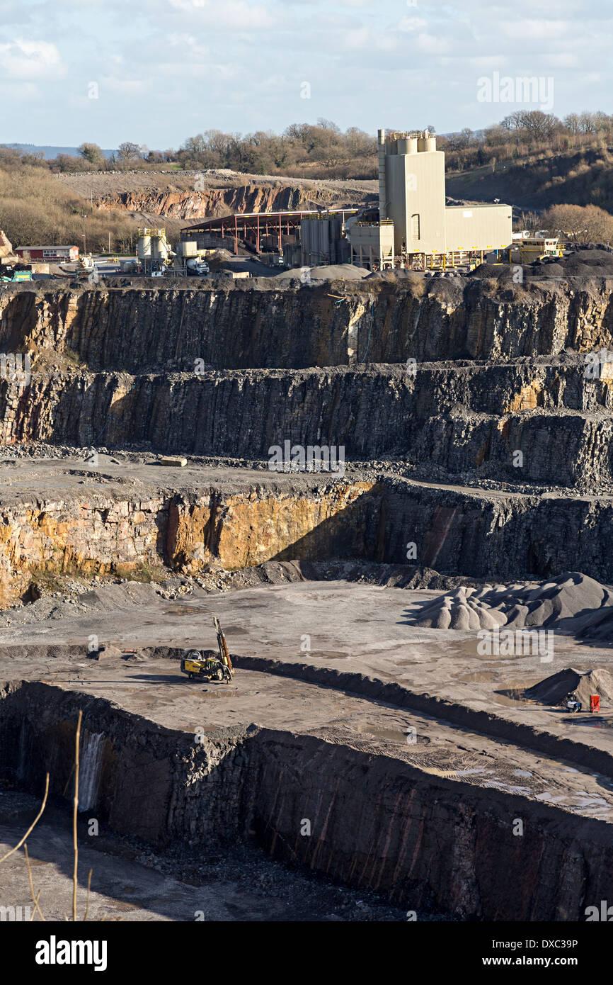 Lafarge Tarmac quarry, Halecombe, Somerset, England, UK - Stock Image