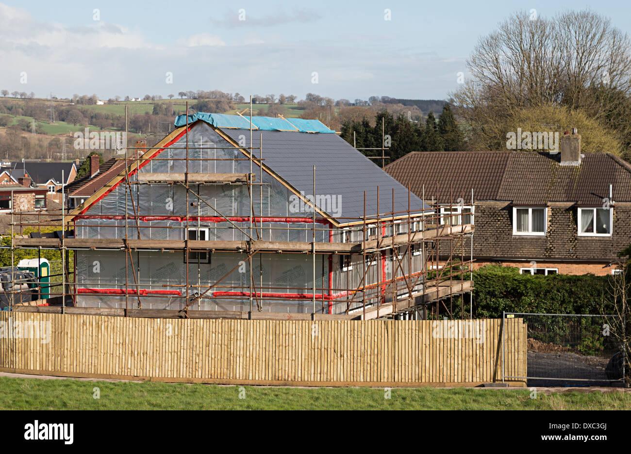 New build house under construction in village, Llanfoist, Abergavenny, Wales, UK - Stock Image