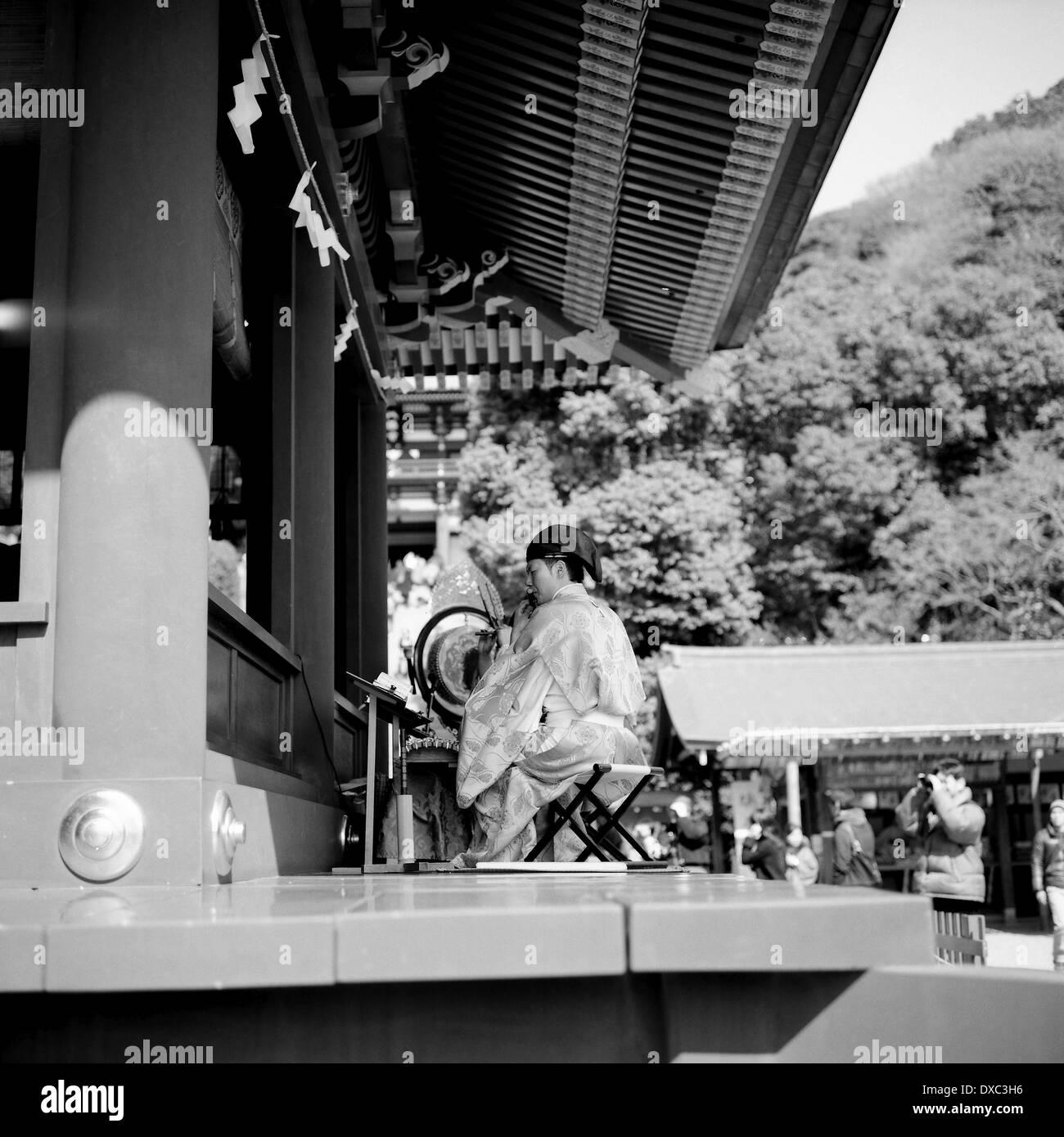 Flute Player In Kamakura, Kanagawa Prefecture, Japan - Stock Image